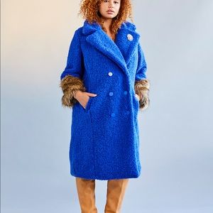 Eloquii Blue Boucle Coat with Fur Sleeve Cuffs